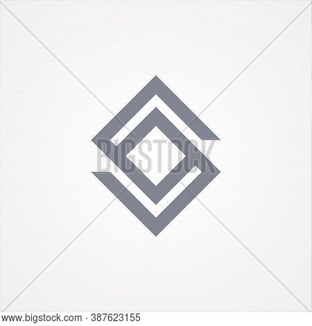 Square Chain Design Shaped Letter S In Flat Style. Abstract Square Symbol Design. Vector Illustratio