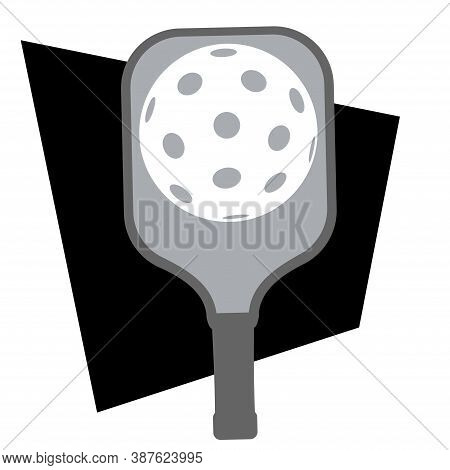 Pickleball Vector Graphic Elements. Paddle With Ball On Court.