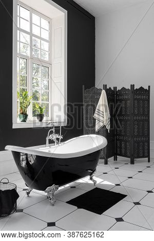 Vertical And Side View Photo Of Modern Interior Design In Contemporary Apartment With White Bath, Dr