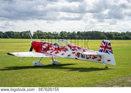 Old Warden, Bedfordshire, Uk , October 6, 2019.small Airplane Ready To Take Off On The Airfield
