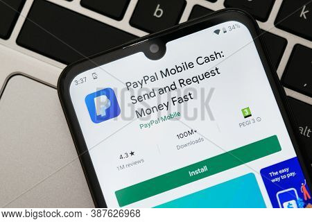 Krakow, Poland - September 30, 2020:  Paypal Application  In Google Play Store. Paypal Is An Online
