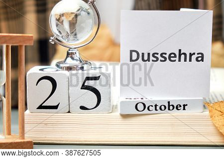 Dussehra Day Of Autumn Month Calendar October Holiday In India.