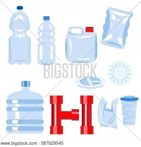 Set Of Plastic Items. Bottle, Plate, Glass, Tube, 5-gallon Bucket, Bag, Packaging, Tunnel, Jerrican.