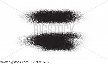 Brush Stroke Paint. Dotwork Stain Pattern. Sand Grain Effect. Black Noise Stipple Dots. Abstract Noi