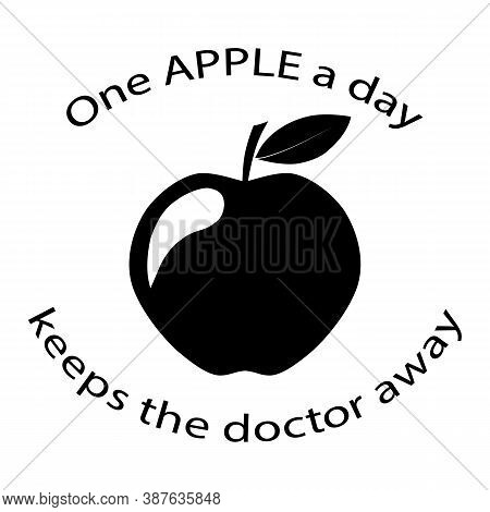 Proverb One Apple A Day Keeps The Doctor Away Logo Icon Vector