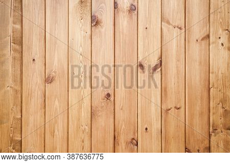 Natural Wooden Wall Made Of Uncolored Pine Wood Planks. Frontal Flat Background Photo Texture