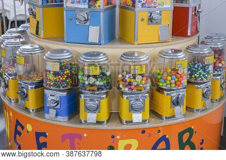 Nizhny Novgorod, Russia - 09.19.2020: Mechanical Vending Machines Filled With Round Colored Gum In A