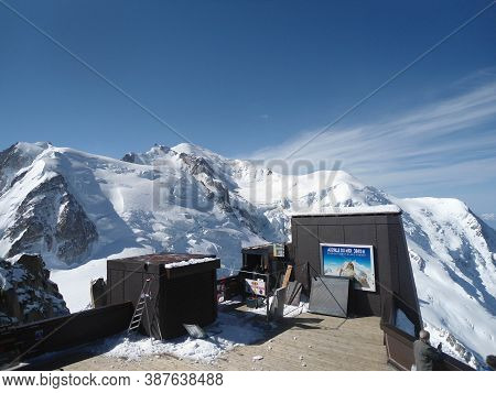 Aguille Du Midi , 3.842m Hig In The Mont Blanc Massif Of The French Alps In France. Very Famous Plac