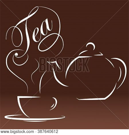 Cup Of Hot Tea On Table Background