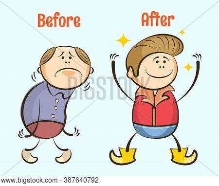 Funny Cartoon Balding Insecure Man Gets Hair And Becomes Happy. Before And After Hair Loss Concept.
