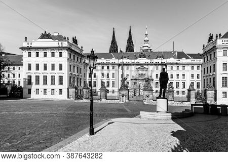 Hradcany Square With Entrance Gate To Prague Castle And Statue Of Tomas Garrigue Masaryk - The First