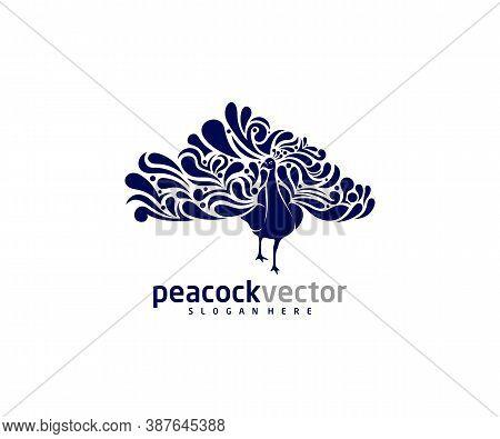 Peacock Logo Design Vector Template, Peacock Bird Illustration