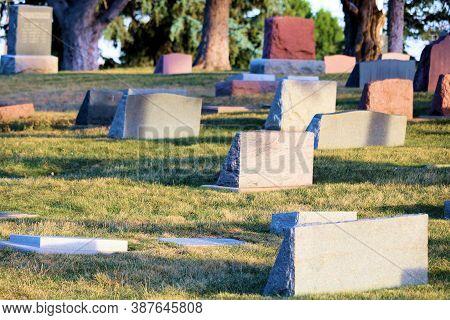 September 28, 2020 In Arvada, Co:  Vintage Headstones On Grave Sites Taken In The Historical Arvada,