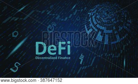 Defi Decentralized Finance On Abstract Digital Dark Background With Flying Digits And Coin Symbols.