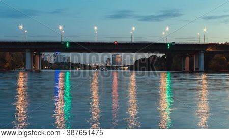 Evening City View Of Moscow. Bridge Over River. Moscow Channel At Night. City Evening View With A Br