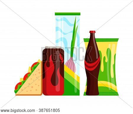 Snack Product Set. Fast Food Snacks Drinks, Juice And Sandwich Isolated On White Background. Classic