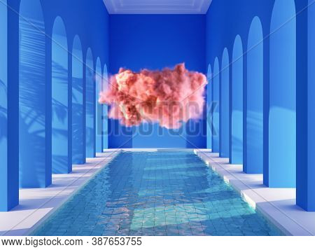 Swimming pool in hall with columns and pink cloud, conceptual art, 3D illustration, rendering.
