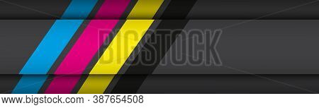 Black Modern Material Header With Overlapped Layers With Cmyk Colors. Banner For Your Business. Vect