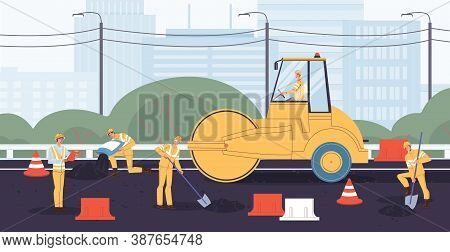 People Engineer Worker In Overalls Building Repairing Road At Autobahn Construction Site. Asphalt Ro