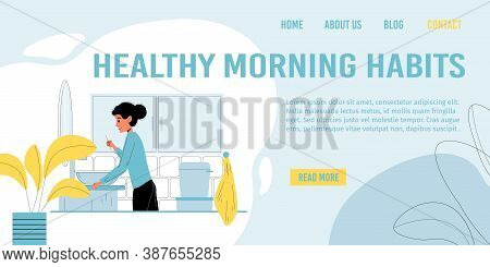 Landing Page Promoting Healthy Morning Habits. Young Boy Brushing Teeth In Bathroom After Wakeup. Ki