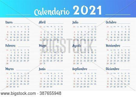 Wall Spanish Calendar Of 2021 Year. Week Starts From Sunday. Horizontal Illustration