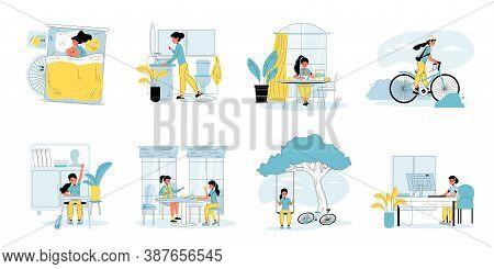 Schoolgirl Perform Everyday Study, Leisure Set. Girl Daily Life Scene Bundle. Schoolchild Sleep, Do