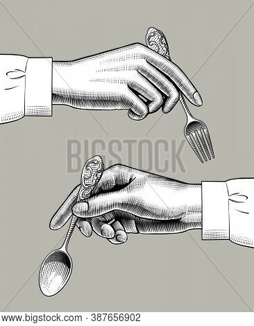 Two female hands with spoon and fork. Vintage engraving stylized drawing