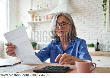 Senior Mature Business Woman Holding Paper Bill Using Calculator, Old Lady Managing Account Finance,