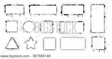 Spray Graffiti Stencil With White Frame For Text. Stencil Frames With Brush Splash. Black Airbrushin