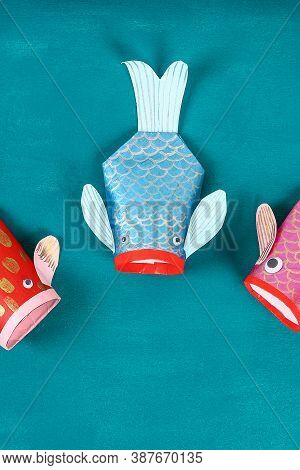 Diy Koi Carp Fish On Blue Green Background. Gift Ideas, Decor For The Chinese New Year. Kid Handmade