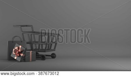 Black Friday Sale Background Decoration With Shopping Bag, Gift Box, Trolley, Copy Space Text, Templ