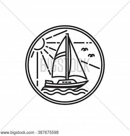 Sailboat Design Outline Simple Monoline Sailboat Isolated On White Background. Vector Logo