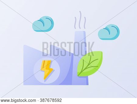 Green Factory Concept Chimney Factory Leaf White Isolated Background With Flat Style