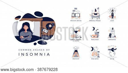 Young Woman Lying In Bed, Closed Vector Illustration. Insomnia Causes: Electronic Devices, Sedentary