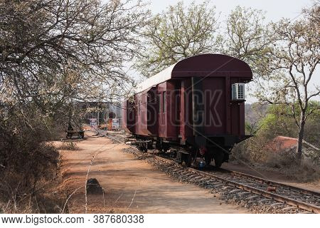 Skukuza, Kruger National Park, South Africa Sept 26 2020: Kruger Shalati Train on the Bridge Hotel is a new luxury hotel opening soon in Kruger National Park. This is one of the train carriages ready to be placed on the bridge.