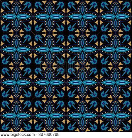 Indigo Ornate Arabian Ornament Vector Seamless Pattern. Flower Portugal Background. Turquoise And Ye