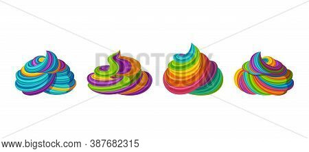 Swirled Rainbow Frosting For Icecream And Cupcakes. Tasty Cream Isolated In White Background. Vector
