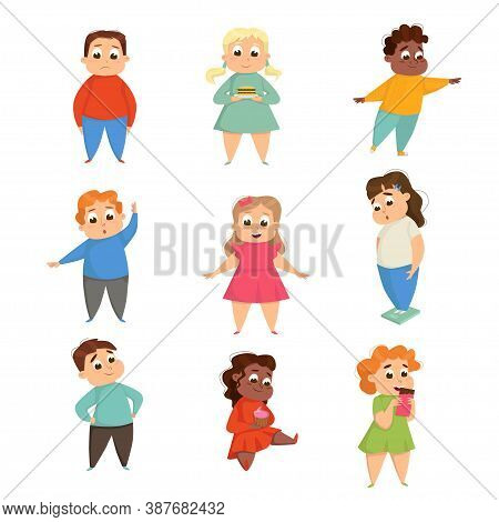 Overweight Girls And Boys, Cheerful Plump Kids Doing Sports Exercises And Eating Fast Food Cartoon S