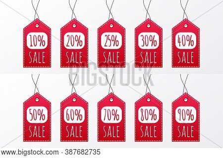 10 20 25 30 40 50 60 70 80 90 Percent Sale Vector Icon. Red Shopping Tag Sign. Illustration For Adve