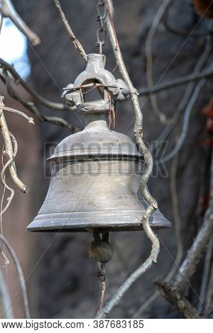 Old Bell In The Indian Temple In Rishikesh, India