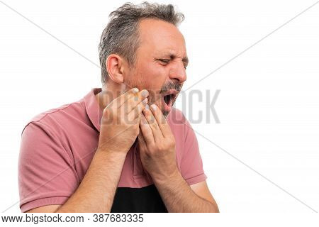 Man Model Wearing Casual Colourful Summer Attire With Toothache Pain Touching Cheek Copyspace Isolat