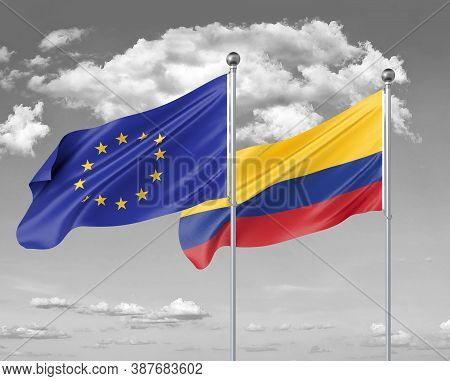 Two Realistic Flags. European Union Vs Colombia. Thick Colored Silky Flags Of European Union And Col