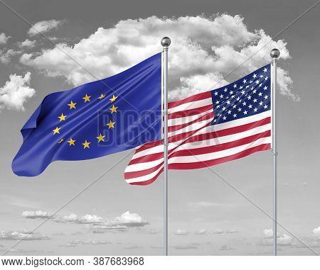 Two Realistic Flags. European Union Vs Usa. Thick Colored Silky Flags Of European Union And Usa. 3d