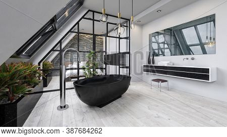 Modern apartment with bathroom and bedroom. 3d Render.