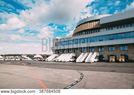 Minsk, Belarus - September 13, 2019: Passenger Boarding Stairs Or Stair Cars Stands At Minsk Nationa