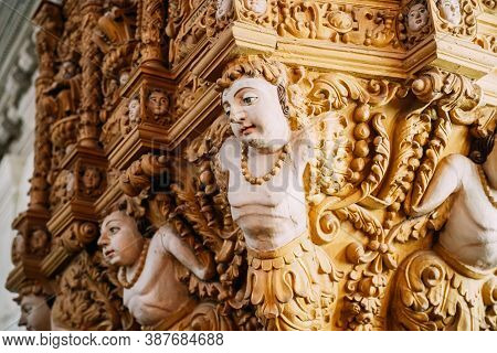 Old Goa, India - February 19, 2020: Main Altar In Basilica Of Bom Jesus. Close Up Decor. Roman Catho