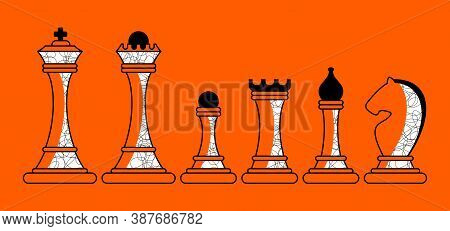 Set Of Figures For Chess. King, Queen And Rook, Bishops, Knights And Pawn. Board Logic Game, Horizon