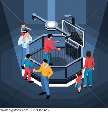 Virtual Reality Simulator With People Around It And Man In Glasses Holding Console 3d Isometric Vect