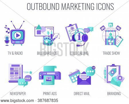 Outbound Infographics Marketing Icons. Traditional Offline Marketing. Duoton Lilac And Blue Color. T