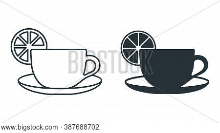Cup With Saucer And Lemon Icon. Flat Cartoon Objects Isolated On White Background.